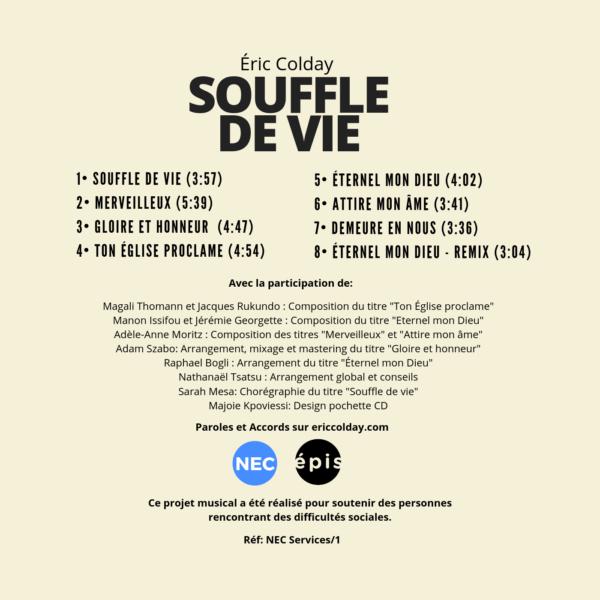 Pochette arrière - Souffle de vie - Eric Colday